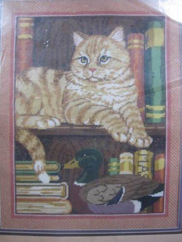 Cat on Bookshelf Needlepoint Kit - Candamar Something Special  #30548  1987