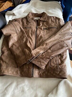 GUESS Men's Leather Jacket Large #736