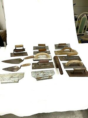 Lot Of 16 Vintage Cement Finishing Tools