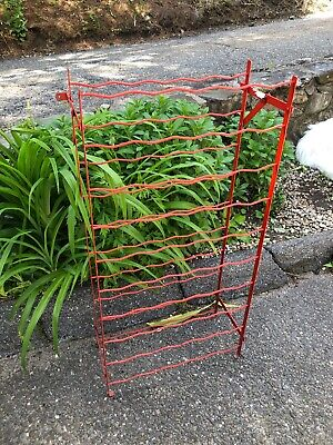 Vintage Wine Stand Rack French Metal Wire Wrought Iron Antique Painted Red ()