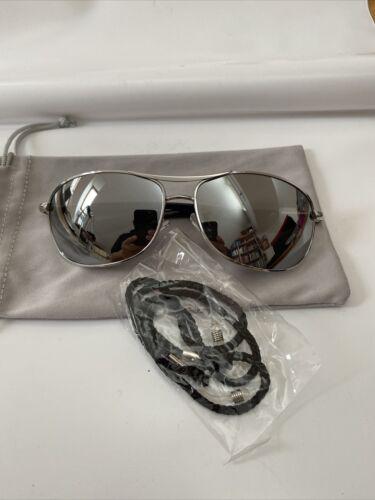 SONNENBRILLE Silber verspiegelt Herren curved Glas Grau,Federgelenk, Brillenband