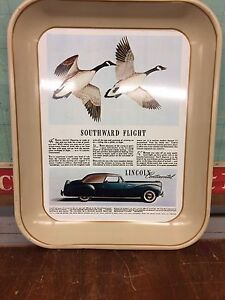 Serving tray Advertising Ford Lincoln Continental. Canada Geese.
