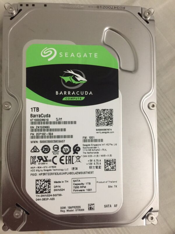 Seagate 1tb Barracuda SATA 6gb/s 64mb Cache 3.5-inch Internal Hard Drive Disk