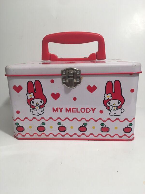 ✨ Vintage My Melody Pencil Case Tin Organizer with Handle 1998 Japan Rare HTF ✨