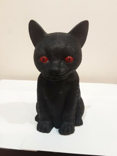 RUBBER HAPPY HALLOWEEN BLACK CAT WITH RED EYES HALLOWEEN DECORATION