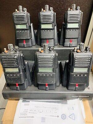 Lot Of 6 Vertex Standard Vx-824-g7-5 Uhf 5w 512ch Lcd Vac-6920 6-unit Charger