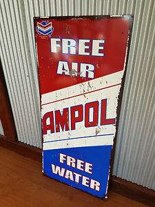 Large Ampol free air / water Metal tin sign Petrol Oil Man cave bar Garage