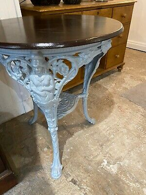 Britannia Cast Iron Garden Table Cream With Wood Top