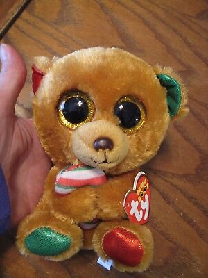 Ty Beanie Boos 5 1 2  Bella Christmas Bear With Candy Cane   2017