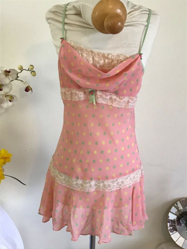 RARE Betsey Johnson Intimates Sheer Coral Peach Baby Doll Chemise Size S