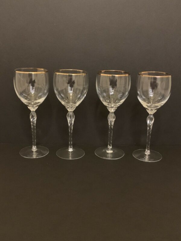 Set 4 LENOX MONROE Crystal Wine Glass Twisted Stemware Gold Rim