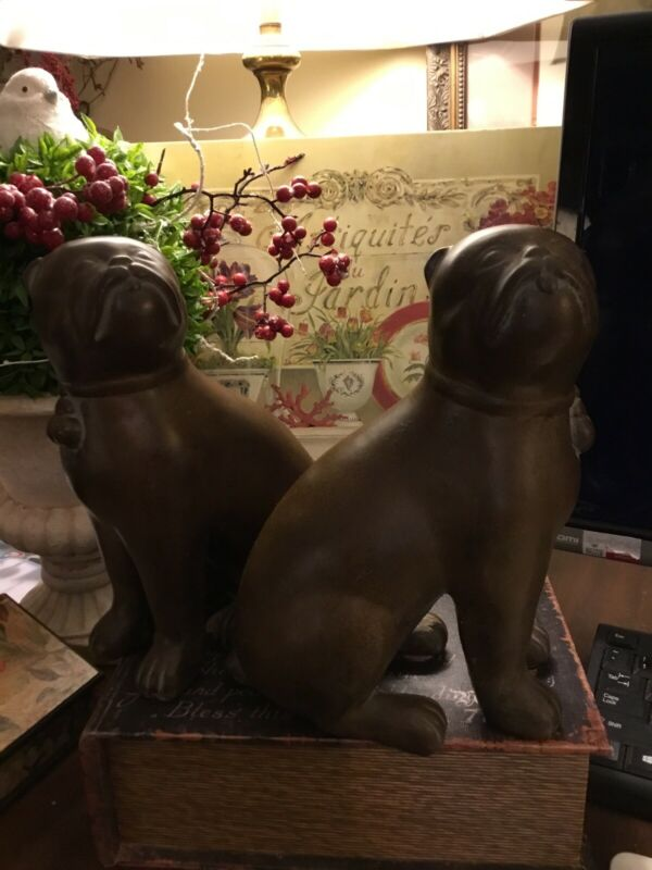 """(2)-Large~Staffordshire Bull Terriers-Heavy-9.5""""H~Brown/Black Finish~FREE SHIP"""