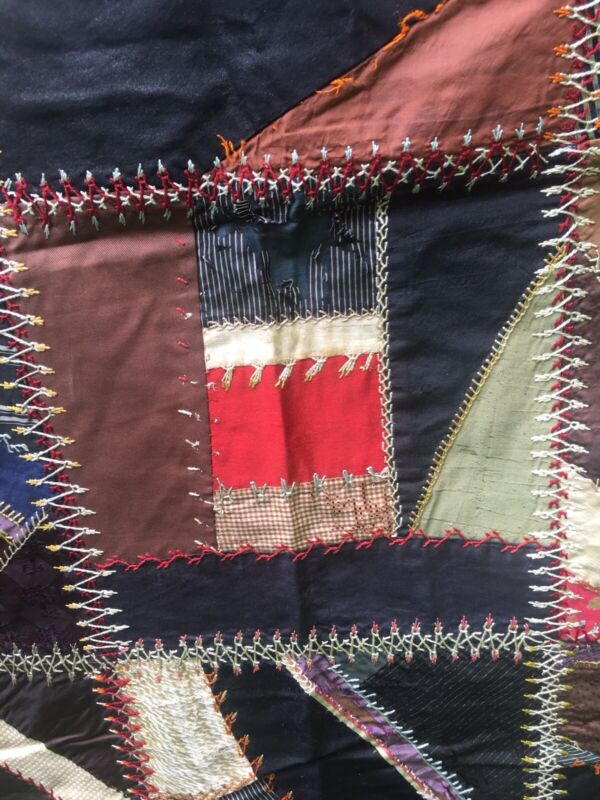 Antique Vintage Beautiful Crazy Quilt- Silk With Extensive Intricate Embroidery