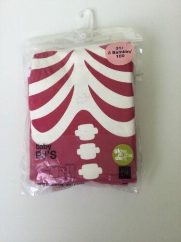 NEW Baby GAP Size 3T Girls Pajamas 2 Piece Set Pink Skeleton Glow in the Dark pj