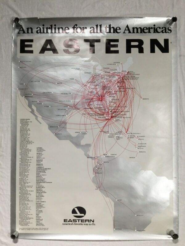 Vintage Eastern Airlines Poster / Americas Travel / USA South of America