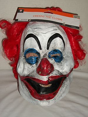 Creepo Clown Rubber Face Mask Costume Halloween Party Red Hair Wig Creepy - Halloween Clown Costume
