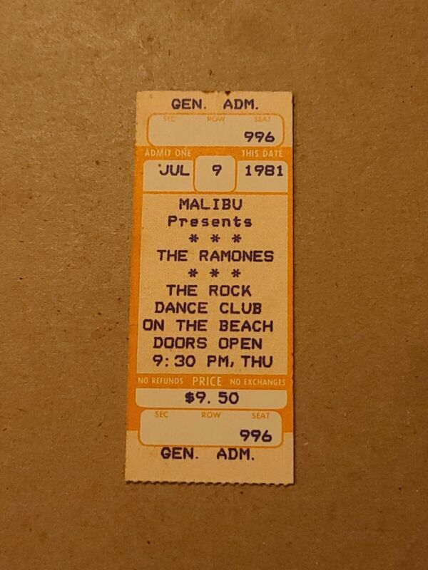 THE RAMONES ORIG TICKET STUB 1981 ROCK DANCE CLUB ON HE BEACH PUNK
