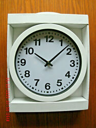 NEW 9 inch Round White Wall Clock w/ Black Numbers plastic battery power defects