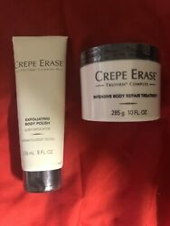 CREPE ERASE INTENSIVE BODY TREATMENT 10oz & EXFOLITATING BODY POLISH 8oz NEW