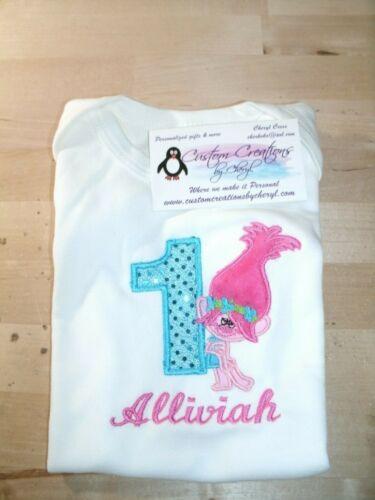 Trolls Poppy Girl 1st Birthday Personalized Birthday Shirt Full Body