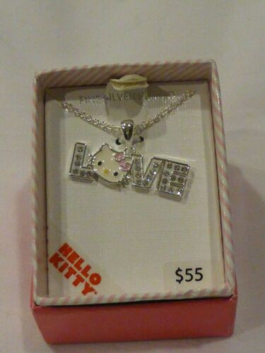 Hello Kitty Sterling Silver Swarovski Paved LOVE Pendant Necklace NIB $55