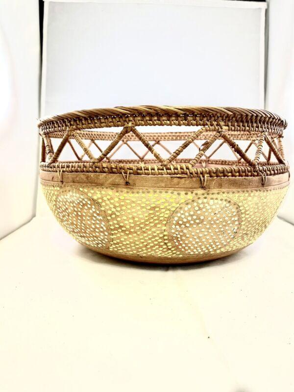Handmade African Basket Wooden Bottom