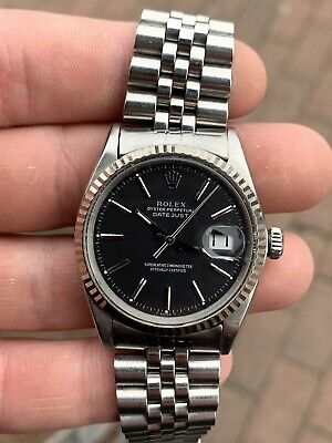 1969 Rolex Datejust 1601 Black Antracite Grey Dial On Jubilee 18k Steel