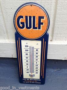 Metal-GULF-THERMOMETER-Gasoline-Gas-Oil-Can-Auto-Shop-Sign-Garage-Mopar-GMC-Fram