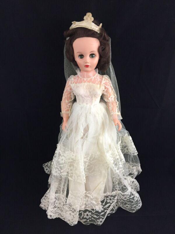 "Vintage 1950s 20"" Wedding Bride Doll Sleepy Eyes 14R AE2006"