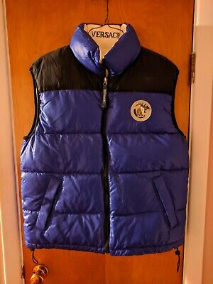 Versace Down-Filled Puffer Vest Men's Size L REVERSIBLE Blue/White Medusa Logo