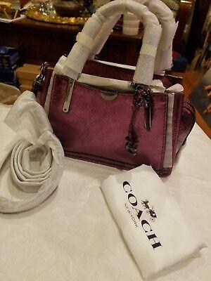 COACH Metallic Dreamer 21 Gunmetal/Metallic Berry Handbag NWT $350