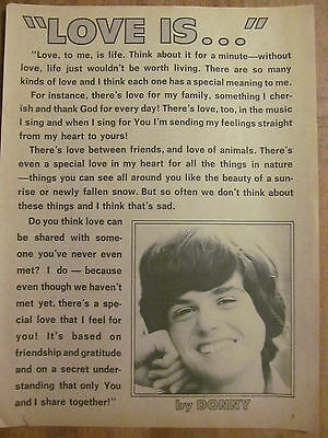 Donny Osmond, The Osmonds Brothers, Full Page Vintage Clipping