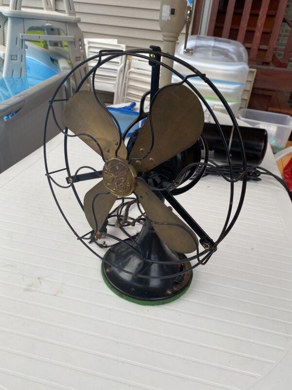 """Vintage  12"""" General Electric GE Cat. 75423 3 Speed Desk Fan Brass Blade"""