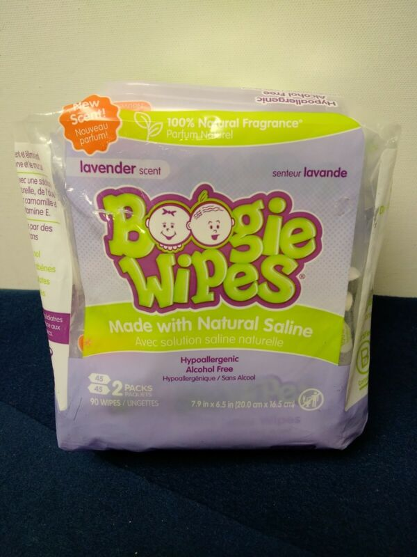 Boogie Wipes Made with Natural Saline Lavender Scent 2 Pack of 45 In Each Hypoal