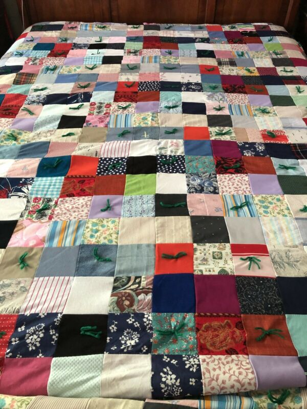 """Vintage 80s Hand Tie Yarn Embroidery Multi Fabric Patchwork Crazy Quilt 74""""x100"""""""