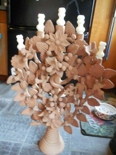 "27"" TREE OF LIFE ADAM EVE MEXICAN FOLK ART CLAY POTTERY CANDELABRA MEXICO"