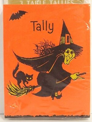 Hallmark Halloween Witch Tally Cards Sealed Package 12 Cards Table Tallies - 1960s Halloween Cards