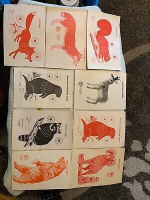 Vintage Target Set 9 Grizzly Fox Ram Wolf Squirrel Raccoon Woodchuck Antelope
