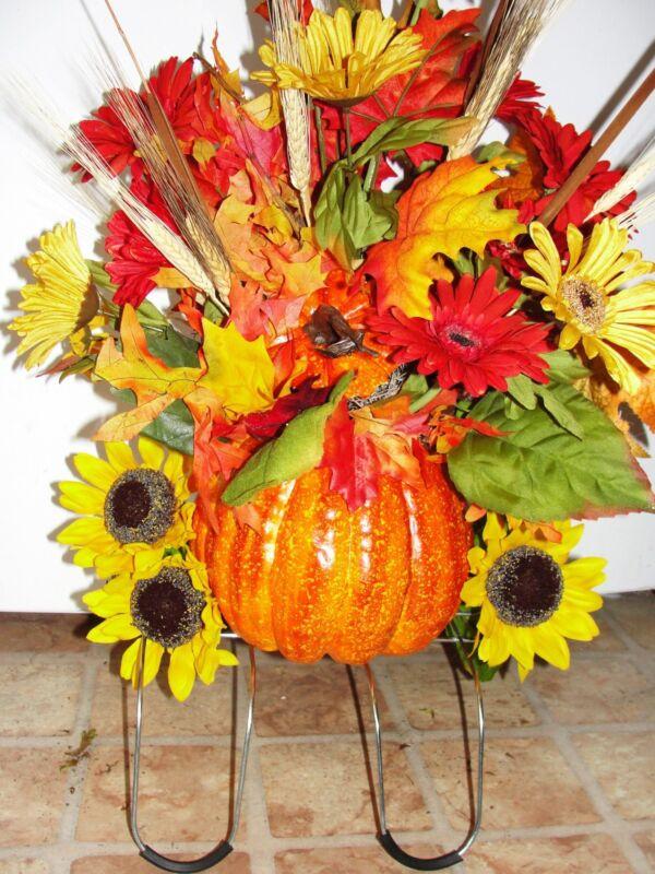 Pumpkin Thanksgiving Tombstone Saddle Cemetery Grave Ebay Silk Flowers Custom