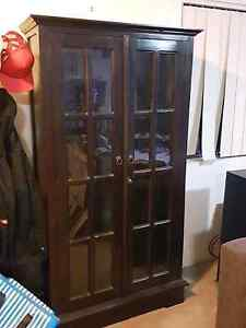 Wooden and glass display cabinet New Farm Brisbane North East Preview