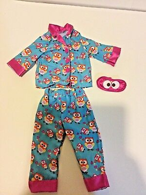 Masquerade Outfits For Girls (Blue Pink Owl Pajamas Outfit w/ Sleep Mask for American Girl Dolls)