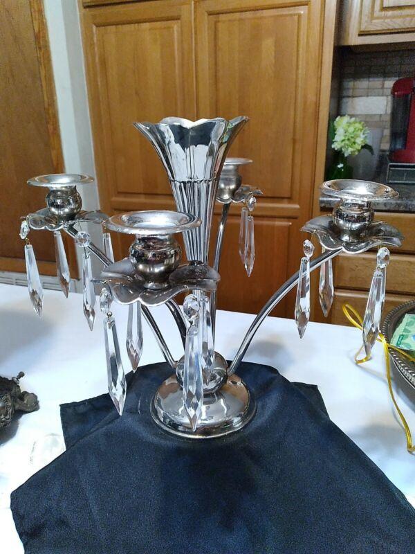 Antique Edwardian English Silver Plate 5 Trumpet w/center ribbed Vase Epergne