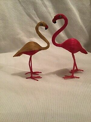 PAIR OF FLAMINGOES PINK AND CREAM RECYCLED PLANT FIBRES ANTIQUE