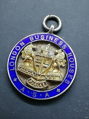 LONDON BUSINESS HOUSES A.S.A 1934 SILVER & ENAMEL NETBALL OLDBURY CUP MEDAL