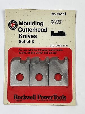 Rockwell Moulding Cutterhead Knives Set Of 3 No. 35-101 516 Cove 38 Bead