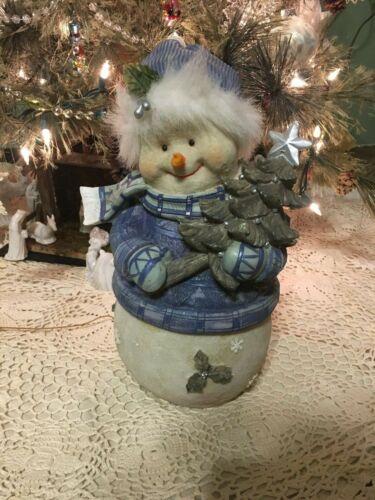 Blue/White Resin Snowman