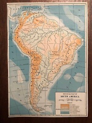 """Vintage Color Physical Map of SOUTH AMERICA Print Plate 5.75"""" x 8"""" Unframed"""