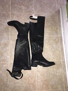 Boots, pj pants and kitchen stuff