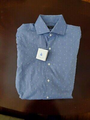 NWT Men's Finamore Napoli 1925 Dress Shirt 16-16.5 BLUE