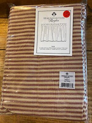 Barn Red York Ticking Stripe Tier Curtains Country Farmhouse Window 72WX36L